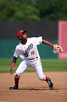 Auburn Doubledays third baseman Omar Meregildo (18) reacts to a popup during the second game of a doubleheader against the Mahoning Valley Scrappers on July 2, 2017 at Falcon Park in Auburn, New York.  Mahoning Valley defeated Auburn 3-2.  (Mike Janes/Four Seam Images)
