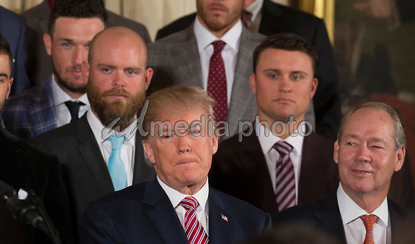 United States President Donald J. Trump welcomes Baseball's 2017 World Series Campions, the Houston Astros to The White House in Washington, DC, March 12, 2018. Photo Credit: Chris Kleponis/CNP/AdMedia