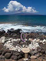 The Ku'ula Stone, a fisherman's shrine off the coastal walkway (beach walk) in Wailea, Maui.