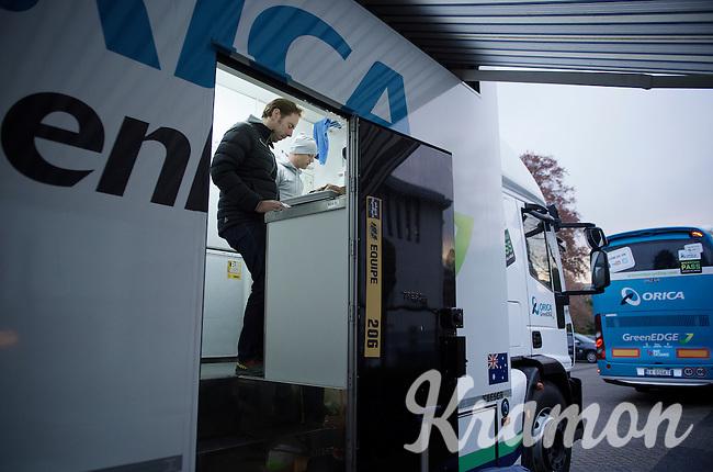 soigneur Joachim Schoonacker prepping the days sandwiches for the team at 6.50am<br /> <br /> 102nd Liège-Bastogne-Liège 2016