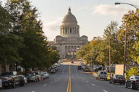 A view of the Arkansas State Capitol looking up West Capitol Avenue in Little Rock, Arkansas.