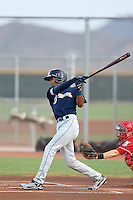 Jake Gatewood #18 of the AZL Brewers bats against the AZL Reds at the Cincinnati Reds Baseball Complex on July 5, 2014 in Goodyear, Arizona. (Larry Goren/Four Seam Images)