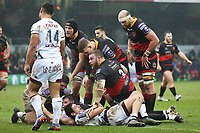 Elliot Dee of Dragons team mates celebrate as he scores his sides first try of the match during the European Challenge Cup match between Dragons and Bordeaux Begles at Rodney Parade, Newport, Wales, UK. 20 January 2018
