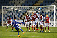 Trae Coyle of Gillingham, currently on loan from Arsenal, takes a free-kick against Arsenal, but the ball missed the goal by some distance during Gillingham vs Arsenal Under-21, Papa John's Trophy Football at the MEMS Priestfield Stadium on 10th November 2020
