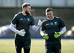 St Johnstone Training…31.08.18<br />Zander Clark and Conor Mitchell pictured during training at McDiarmid Park ahead of tomorrow's game at Hamilton<br />Picture by Graeme Hart.<br />Copyright Perthshire Picture Agency<br />Tel: 01738 623350  Mobile: 07990 594431