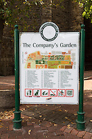 South Africa, Cape Town.  Map to The Company's Garden, established in 1652 by the Dutch East India Company.