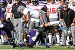 Texas Tech Red Raiders running back Justin Stockton (8) in action during the game between the Texas Tech Red Raiders and the TCU Horned Frogs at the Amon G. Carter Stadium in Fort Worth, Texas. TCU defeats Texas Tech 82 to 27.