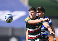 18th April 2021 2021; Recreation Ground, Bath, Somerset, England; English Premiership Rugby, Bath versus Leicester Tigers; Ben Youngs of Leicester Tigers passes the ball back