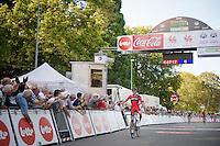 clear winner Greg Van Avermaet (BEL/BMC) crosses the finish line while Tony Gallopin (FRA/Lotto-Belisol) &  Jan Bakelants (BEL/OmegaPharma-Quickstep) battle it out for 2nd<br /> <br /> Grand Prix de Wallonie 2014