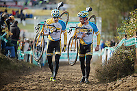 Superprestige Zonhoven 2013<br /> <br /> Rob Peeters (BEL) & Thijs Al (NLD) doing a relaxed recon of the course