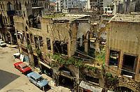 Street full of apartment buildings destroyed by the Lebanese Civil War, Beirut, Lebanon.