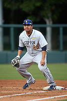 Nazier Mcilwain #26 of the Coppin State Eagles in the field at first base during a game against the Southern California Trojans at Dedeaux Field on February 18, 2017 in Los Angeles, California. Southern California defeated Coppin State, 22-2. (Larry Goren/Four Seam Images)