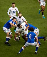 13th February 2021; Twickenham, London, England; International Rugby, Six Nations, England versus Italy; Billy Vunipola of England passes the ball
