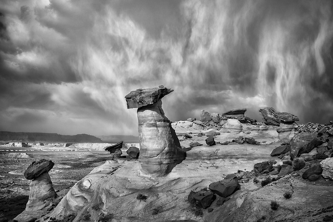 A clearing storm, Virga, and 40mph winds make for a dramatic display of texture and light at Stud Horse Point, Utah.