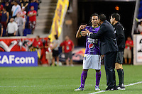 Harrison, NJ - Wednesday Aug. 03, 2016: Agustin Herrera, Mauricio Tapia during a CONCACAF Champions League match between the New York Red Bulls and Antigua at Red Bull Arena.
