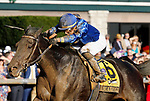"""October 05, 2019 : #6 Maxfield and jockey Jose Ortiz win the 106th running of The Claiborne Breeders' Futurity Grade 1 $500,000 """"Win and You're In Breeders' Cup Juvenile Division"""" for owner Godolphin LLC and trainer Brendan Walsh at Keeneland Racecourse in Lexington, KY on October 04, 2019.  Candice Chavez/ESW/CSM"""