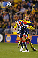 25 OCTOBER 2009:  Alejandro Moreno of the Columbus Crew (10) and Darrius Barnes of the New England Revolution (24) during the New England Revolution at Columbus Crew MLS game in Columbus, Ohio on October 25, 2009.