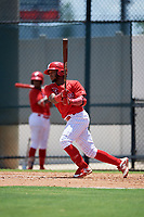 GCL Phillies West Jose Rivera (8) bats during a Gulf Coast League game against the GCL Yankees East on August 3, 2019 at the Carpenter Complex in Clearwater, Florida.  The GCL Yankees East defeated the GCL Phillies West 4-0, the second game of a doubleheader.  (Mike Janes/Four Seam Images)