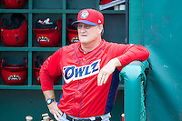 Orem Owlz manager Dave Stapleton (21) prior to the game against the Ogden Raptors in Pioneer League action at Lindquist Field on June 27, 2014 in Ogden, Utah.   This game was rain-delayed from June 26, 2014.  (Stephen Smith/Four Seam Images)