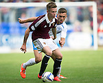 St Johnstone v Hearts...03.08.14  Steven Anderson Testimonial<br /> Gary Oliver closed down by Alex Kitchen<br /> Picture by Graeme Hart.<br /> Copyright Perthshire Picture Agency<br /> Tel: 01738 623350  Mobile: 07990 594431