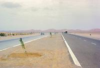Al Ain, UAE, March 1972.  Highway between Abu Dhabi and Al Ain.