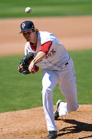 Starting Pitcher Andrew Miller #7 of the Pawtucket Red Sox during a game versus the Toledo Mud Hens on May 1, 2011 at McCoy Stadium in Pawtucket, Rhode Island. Photo by Ken Babbitt /Four Seam Images