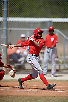 Washington Nationals Armond Upshaw (3) follows through on a swing during a minor league Spring Training game against the St. Louis Cardinals on March 27, 2017 at the Roger Dean Stadium Complex in Jupiter, Florida.  (Mike Janes/Four Seam Images)