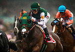 ARCADIA, CA - MARCH 10: Bolt d'Oro #1, ridden by Javier Castellano battles for early posting during the San Felipe Stakes at Santa Anita Park on March 10, 2018 in Arcadia, California. (Photo by Alex Evers/Eclipse Sportswire/Getty Images)