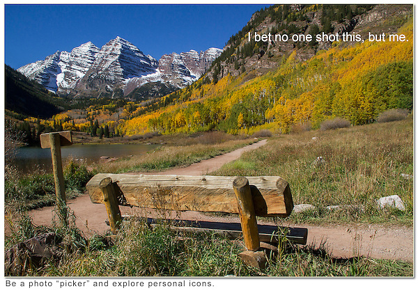 Personal icons are your favorite subjects, that can be added to many images. <br /> I find benches invite the viewer into the landscape. Year round tours in Boulder Colorado.