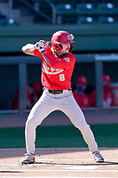 Second baseman Colton Bauer (8) of the Ohio State Buckeyes bats in a game against the Illinois Fighting Illini on Friday, March 5, 2021, at Fluor Field at the West End in Greenville, South Carolina. (Tom Priddy/Four Seam Images)