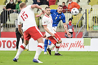 11th October 2020, The Stadion Energa Gdansk, Gdansk, Poland; UEFA Nations League football, Poland versus Italy; ANDREA BELOTTI shoots past TOMASZ KEDZIORA