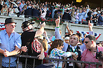 June 6, 2015: Fans react as American Pharoah, Victor Espinoza up, wins the 147th running of the Grade I  Belmont Stakes and with it the Triple Crown at Belmont Park, Elmont, NY.  Joan Fairman Kanes/ESW/CSM
