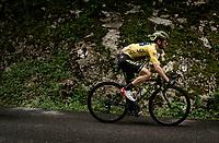 yellow jersey / GC leader Adam Yates (GBR/Mitchelton-Scott)<br /> <br /> Stage 7: Saint-Genix-les-Villages to Pipay  (133km)<br /> 71st Critérium du Dauphiné 2019 (2.UWT)<br /> <br /> ©kramon