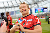 Jonny Wilkinson of RC Toulon thanks the fans for their support after winning the Heineken Cup Final between ASM Clermont Auvergne and RC Toulon at the Aviva Stadium, Dublin on Saturday 18th May 2013 (Photo by Rob Munro)