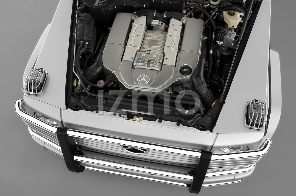 High angle engine view of a 2008 Mercedes Benz G55 AMG