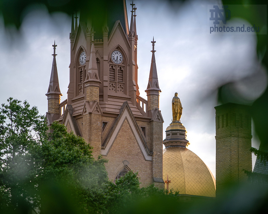 June 9, 2020; Dome and Basilica steeple (Photo by Matt Cashore/University of Notre Dame)