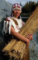Portrait of A Native Alaskan Alutiq woman in a traditional beaded dress. Alaska.