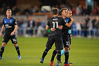 SAN JOSE, CA - MARCH 7: Vako #11 celebrates with Tommy Thompson #22 of the San Jose Earthquakes during a game between Minnesota United FC and San Jose Earthquakes at Earthquakes Stadium on March 7, 2020 in San Jose, California.