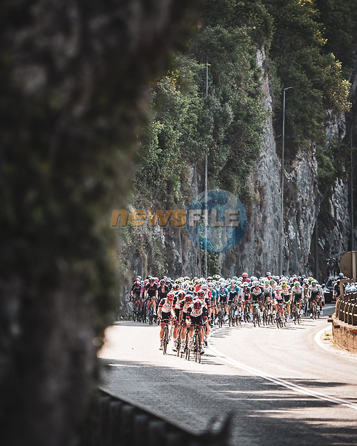 The peloton led by UAE Team Emirates during Stage 16 of La Vuelta d'Espana 2021, running 180km from Laredo to Santa Cruz de Bezana, Spain. 31st August 2021.     <br /> Picture: Charly Lopez/Unipublic | Cyclefile<br /> <br /> All photos usage must carry mandatory copyright credit (© Cyclefile | Unipublic/Charly Lopez)