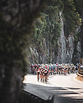 The peloton led by UAE Team Emirates during Stage 16 of La Vuelta d'Espana 2021, running 180km from Laredo to Santa Cruz de Bezana, Spain. 31st August 2021.     <br /> Picture: Charly Lopez/Unipublic   Cyclefile<br /> <br /> All photos usage must carry mandatory copyright credit (© Cyclefile   Unipublic/Charly Lopez)