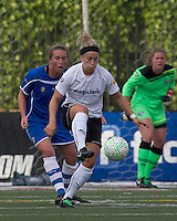 magicJack forward Ella Masar (55) traps the ball as Boston Breakers defender Kasey Moore (17) defends. In a Women's Professional Soccer (WPS) match, the Boston Breakers defeated magicJack, 2-1, at Harvard Stadium on June 5, 2011.