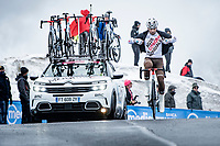 Andrea Vendrame (ITA/AG2R Citroën) coming over the Passo Giau, prepping for the descent<br /> <br /> due to the bad weather conditions the stage was shortened (on the raceday) to 153km and the Passo Giau became this years Cima Coppi (highest point of the Giro).<br /> <br /> 104th Giro d'Italia 2021 (2.UWT)<br /> Stage 16 from Sacile to Cortina d'Ampezzo (shortened from 212km to 153km)<br /> <br /> ©kramon