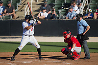 Brandon Dulin (31) of the Kannapolis Intimidators at bat against the Lakewood BlueClaws at Kannapolis Intimidators Stadium on April 9, 2017 in Kannapolis, North Carolina.  The BlueClaws defeated the Intimidators 7-1.  (Brian Westerholt/Four Seam Images)