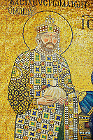 11th Century Byzantine mosaic of  Emperor Constantine IX Monmachus making an offering of money . Hagia Sophia, Istanbul, Turkey