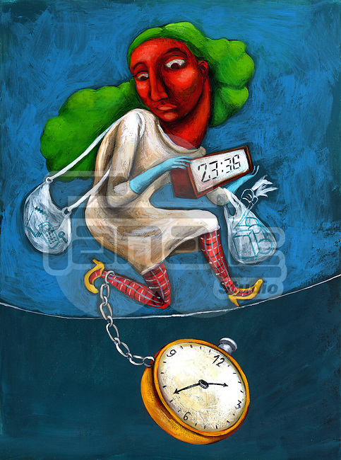 Illustrative image of businesswoman with clocks running for shopping over colored background