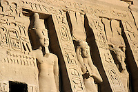 Giant statues outside the Ramses II and Queen Nefertiti Temple at Abu Simbel, Egypt.