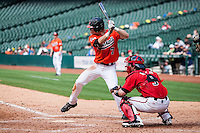 Sam Houston State Bearkats outfielder Hayden Simerly #7 at bat during the NCAA baseball game against the Texas Tech Red Raiders on March 1, 2014 during the Houston College Classic at Minute Maid Park in Houston, Texas. The Bearkats defeated the Red Raiders 10-6. (Andrew Woolley/Four Seam Images)