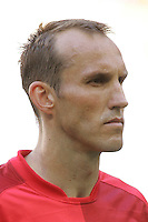 Mark Schwarzer, goalkeeper for Australia. Brazil defeated Australia, 2-0, in their FIFA World Cup Group F match at the FIFA World Cup Stadium, Munich, Germany, June 18, 2006.
