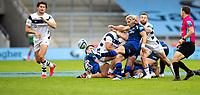 29th August 2020; AJ Bell Stadium, Salford, Lancashire, England; English Premiership Rugby, Sale Sharks versus Bristol Bears;  Faf de Klerk of Sale Sharks box kicks