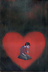 Illustrative image of man crying in heart representing breakup